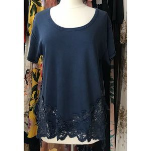 New Free People The Stone Lace Hem Tee in Indigo